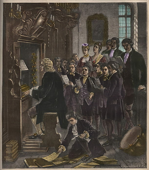Johann Sebastian Bach spielt Orgel an der St. Thomas School, Leipzig, Illustration aus La musique populaire, 1882 von French School