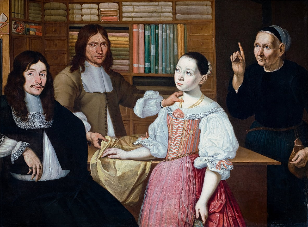 In the Drapers Shop by Adriaen Bloem