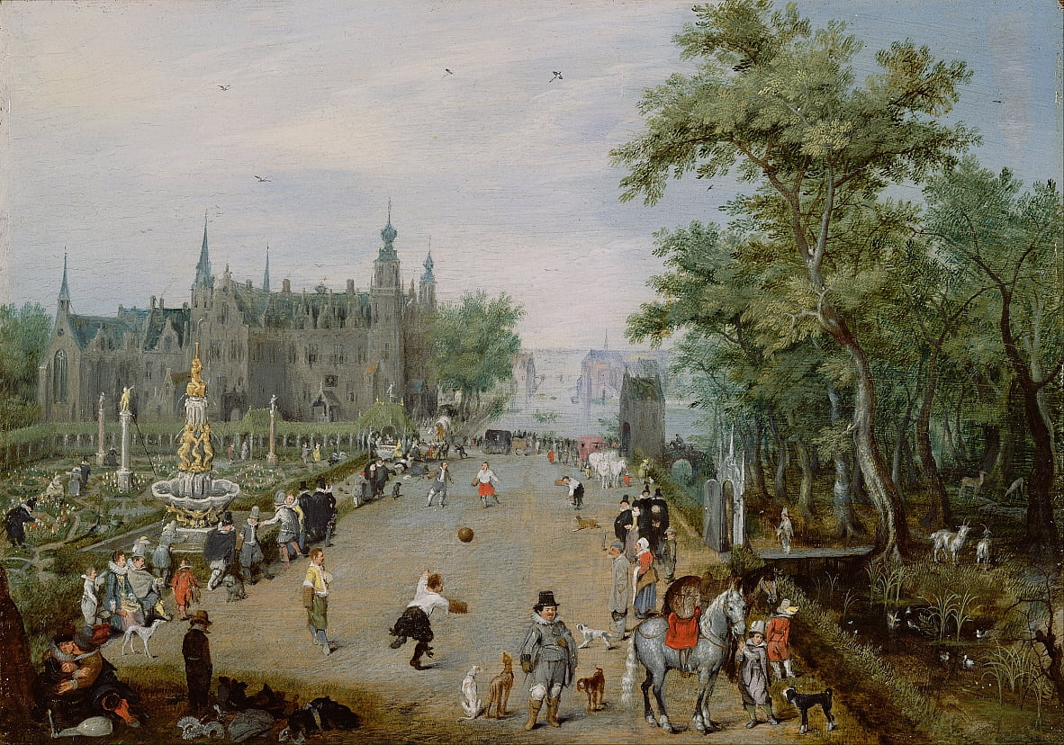A Jeu de Paume Before a Country Palace by Adriaen van de Venne