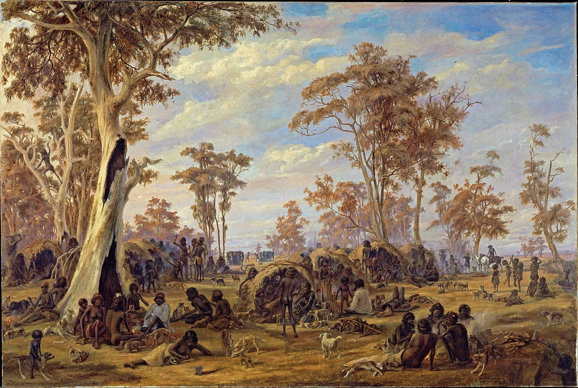 Adelaide, a tribe of natives on the banks of the river Torrens by Alexander Schramm