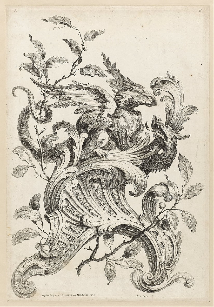 Winged Griffon on a Rocaille Bracket, from Premiere Partie Diverse Ornements by Alexis Peyrotte