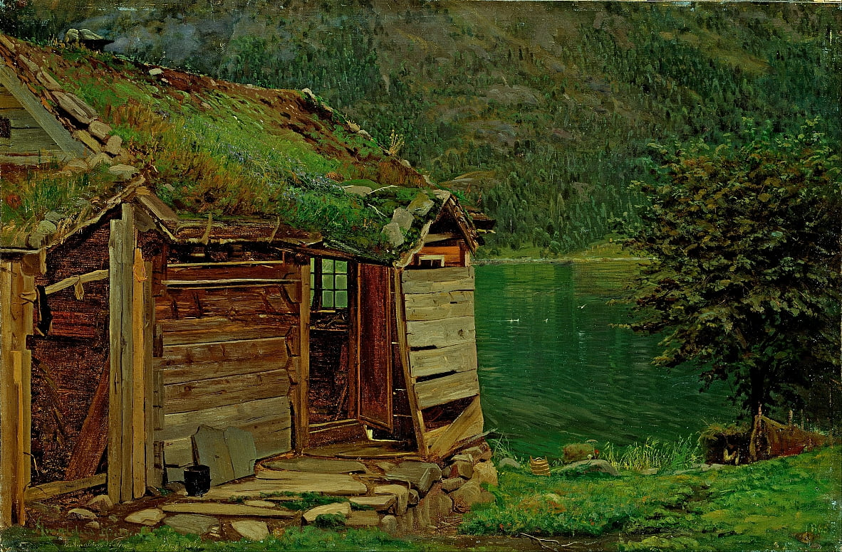 Farmhouse at Balestrand by Amaldus Nielsen