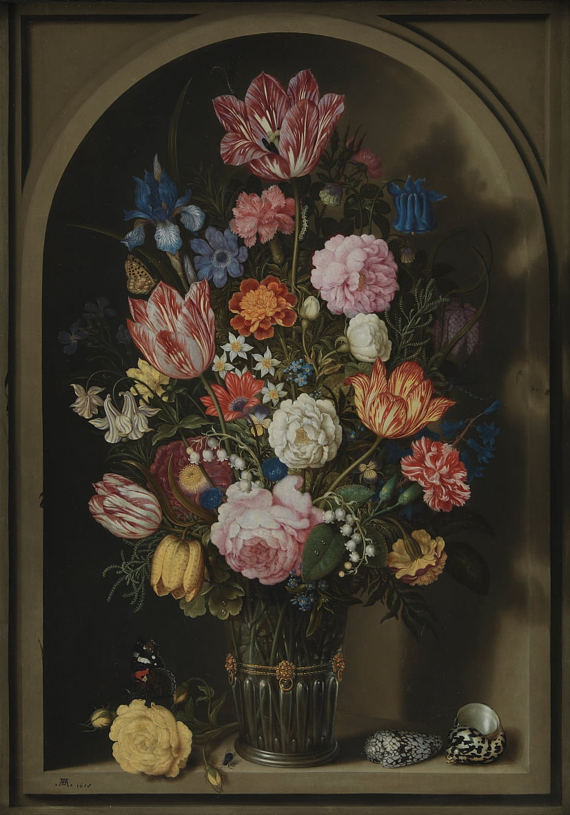 Bouquet of Flowers in a Stone Niche by Ambrosius the Elder Bosschaert