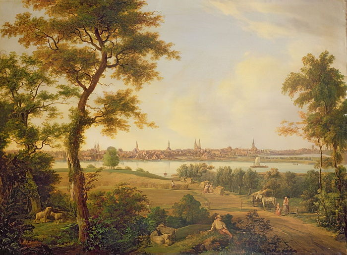 View of Lubeck, 1869  by Andreas Achenbach