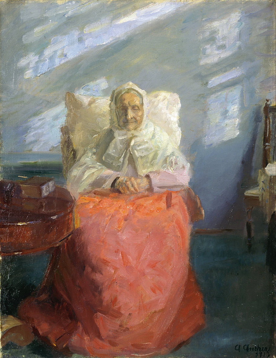 Mrs Ane Brøndum in the blue room by Anna Ancher
