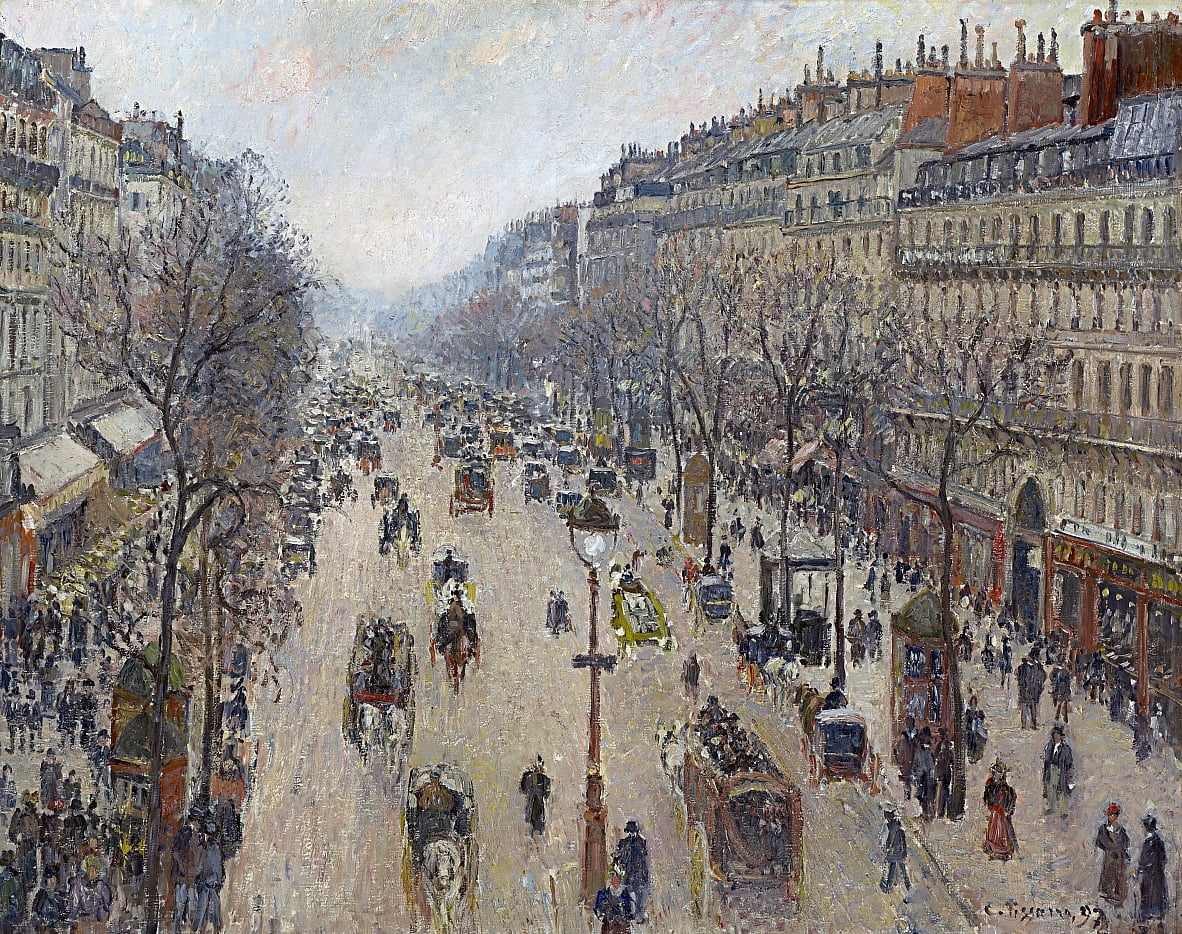 Boulevard Montmartre, morning, cloudy weather by Camille Jacob Pissarro
