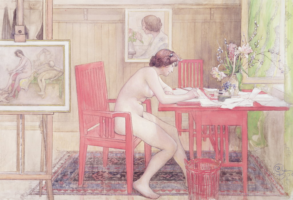 Model Writing Postkarten, 1906 von Carl Larsson