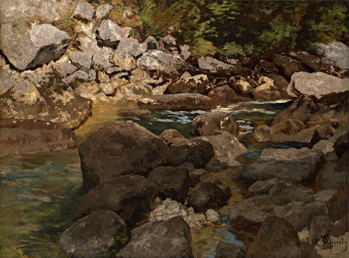 Mountain Stream with Boulders by Carl Schuch