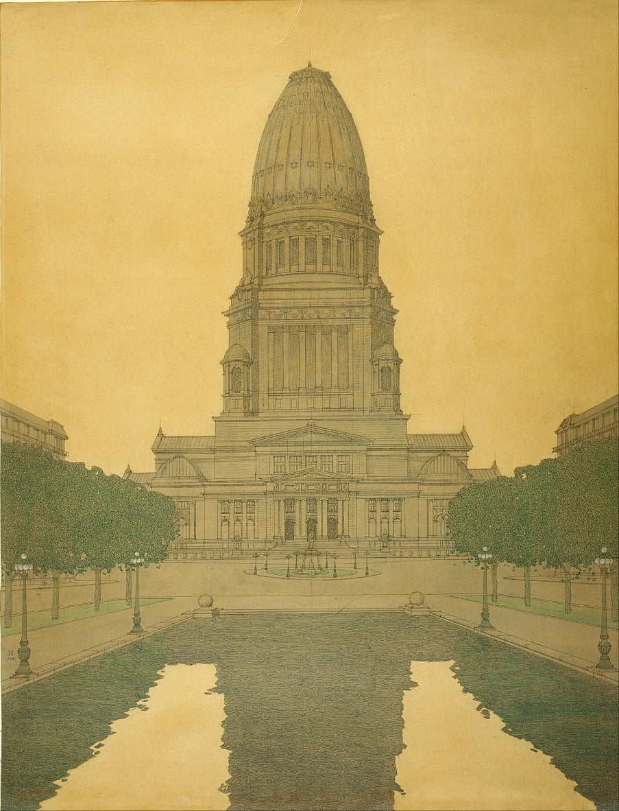 Plan der Chicago-Civic Center von Jules Guerin