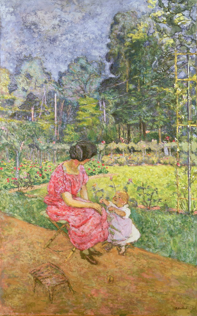 Woman and Child in a Garden  88;Femme et enfant au jardin; by Edouard Vuillard