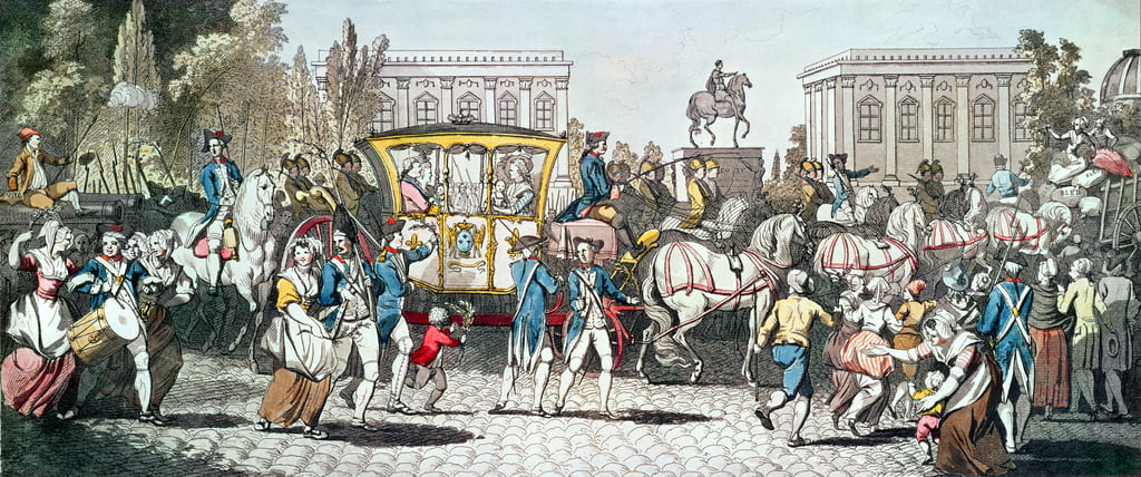 Der Eintritt von Louis XVI (1754-1793) in Paris, 6. Oktober 1789 von English School