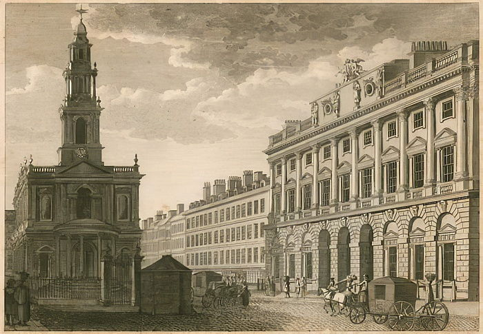 Somerset House und St. Mary-le-Strand, The Strand, London von English School