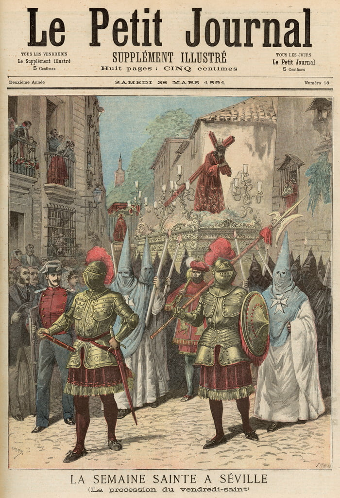 Karwoche in Sevilla: Karfreitagsprozession, aus Le Petit Journal, 28. März 1891 von Fortune Louis Meaulle and Henri Meyer