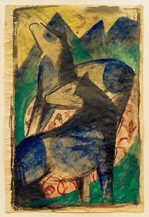 Zwei Blaue Pferde Von Franz Marc Als Kunstdruck 681721