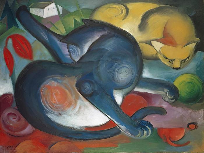 Zwei Katzen, Blau Und Gelb, 1912 Von Franz Marc (#376774