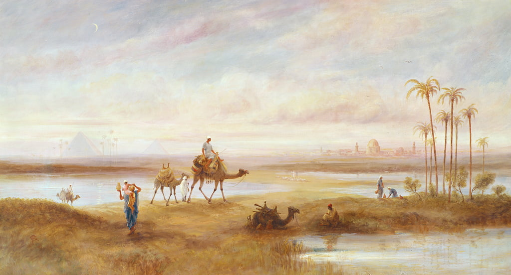 Figures and camels at an oasis  by Frederick Goodall