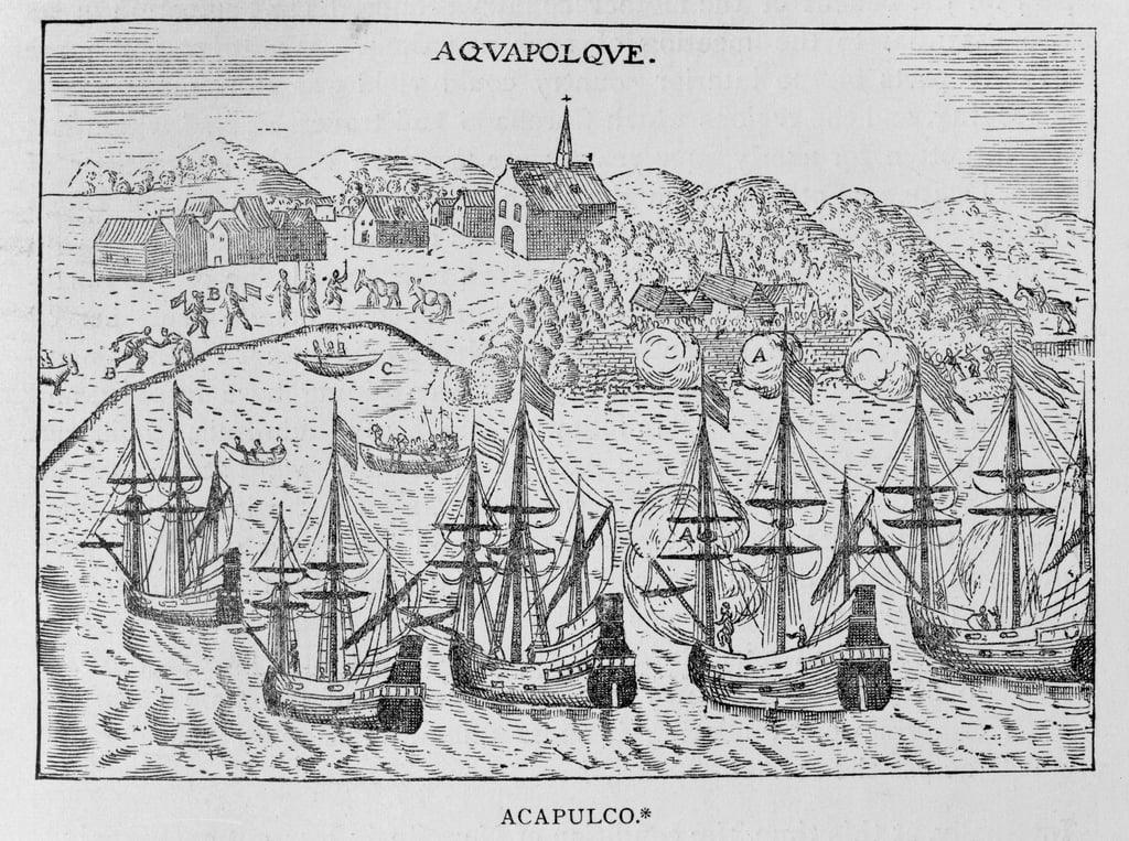 Acapulco, von Jean-Baptiste Labat (1663-1738) s New Travel, Band II, Paris, 1722 von French School