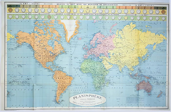 Weltkarte der verschiedenen Zeitzonen, veröffentlicht ... (#432313)