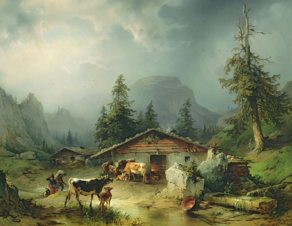 Alpine hut in Rainy Weather, 1850 by Friedrich Gauermann
