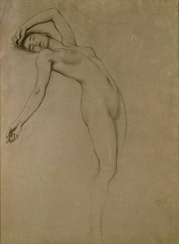 Studie für Clyties of the Mist (Kreide auf Papier) von Herbert James Draper