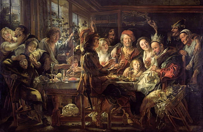 Das Bohnenfest (The King Drinks) 1637-38 von Jacob Jordaens