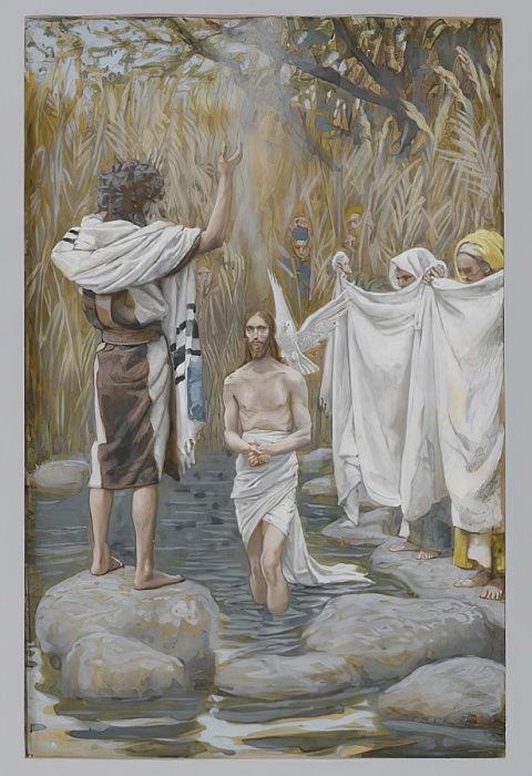 Die Taufe Jesu Illustration Aus Dem Leben Unseres Herr 595020