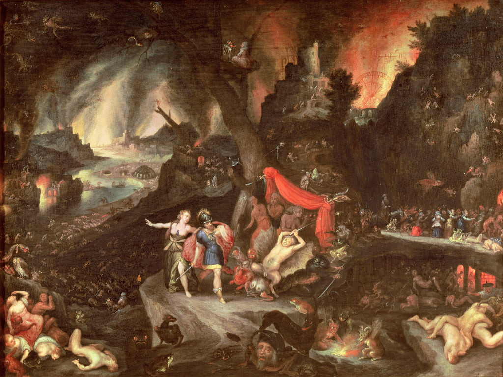 Aeneas in the underworld, c.1630 (oil on copper) by Jan the Elder Brueghel