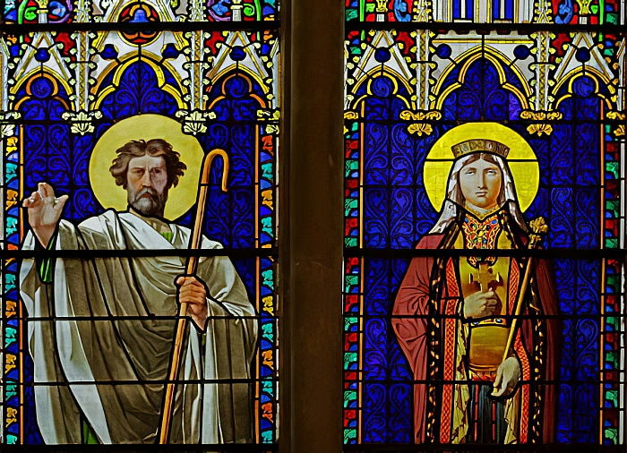 Window depicting Royal Saints: Saint Denis and Saint Clothilde (stained glass) by Jean Auguste Dominique Ingres