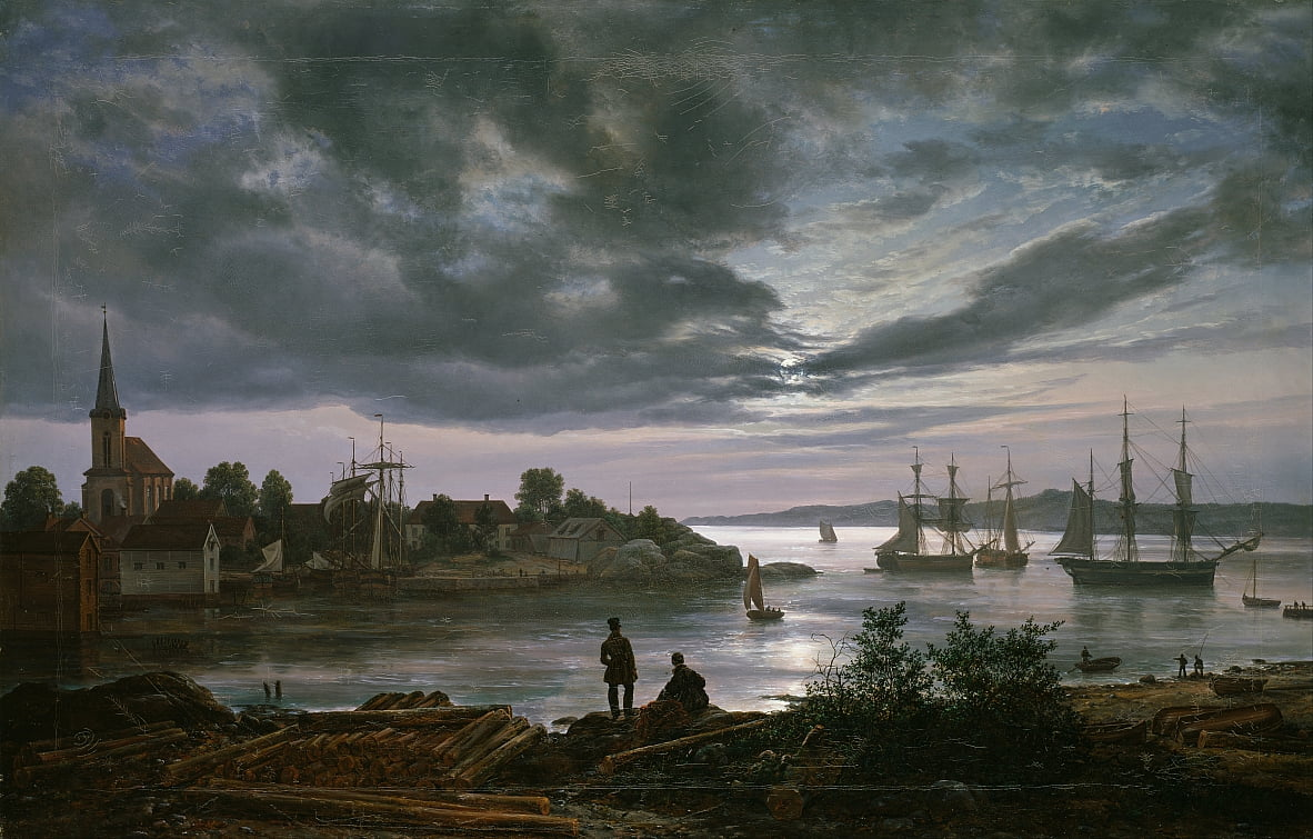 Larvik by Moonlight by Johan Christian Dahl