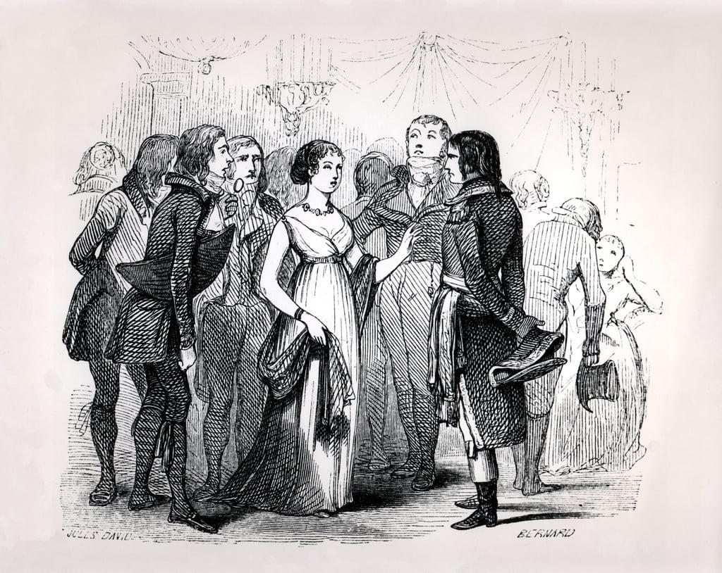 Madame de Stael (1766-1817) befragte Napoleon Bonaparte (1769-1821) über die besten Frauen von Napoleon von Emile Marco de Saint-Hilaire, eingraviert von Bernard, Paris, 1843 von Jules David