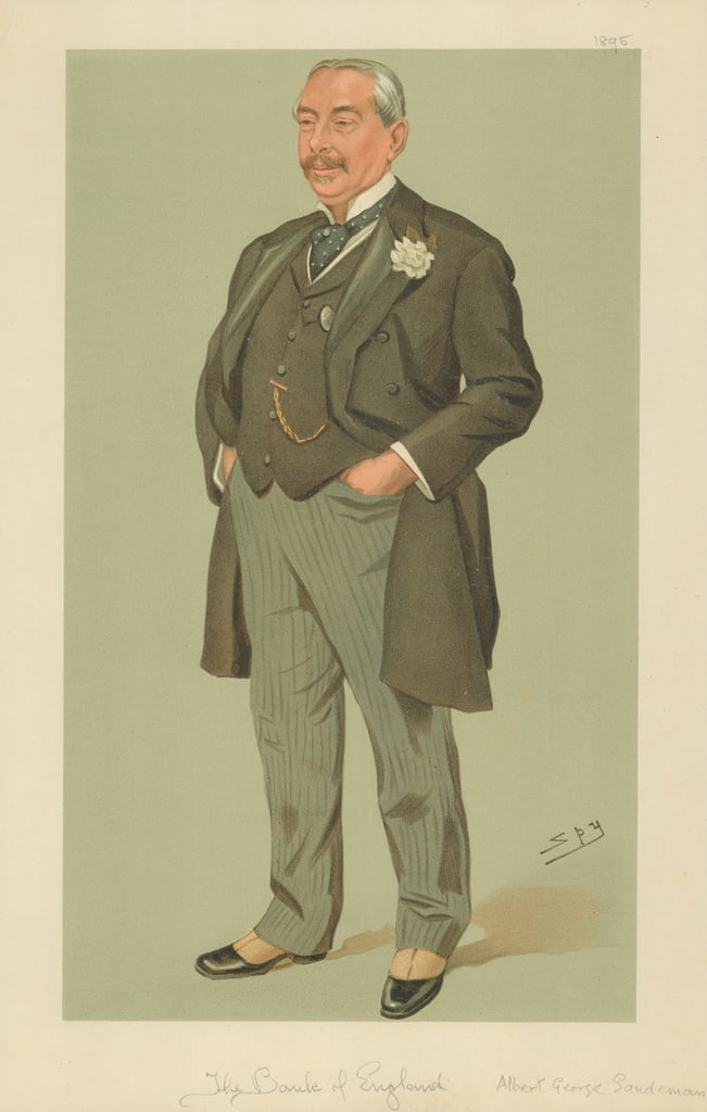 Albert George Sandeman, Die Bank von England, 12. September 1895, Vanity Fair Cartoon von Leslie Matthew Ward
