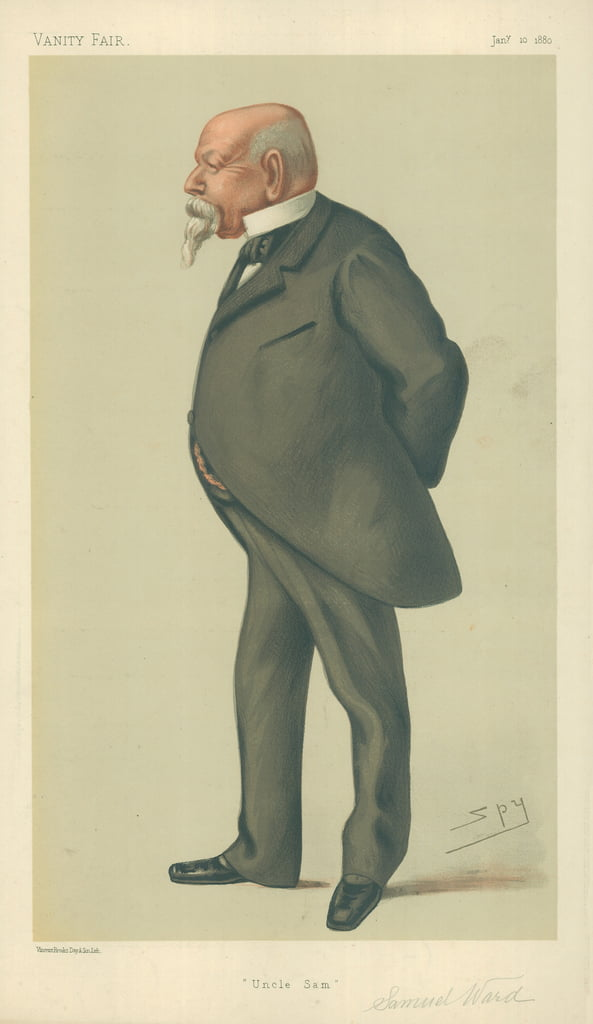 Herr Samuel Ward, Uncle Sam, 10. Januar 1880, Vanity Fair Cartoon von Leslie Matthew Ward