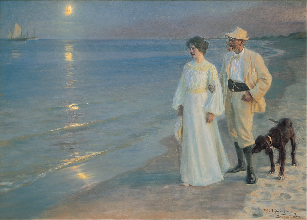 Summer evening on the beach at Skagen. The painter and his wife. by Peder Severin Krøyer