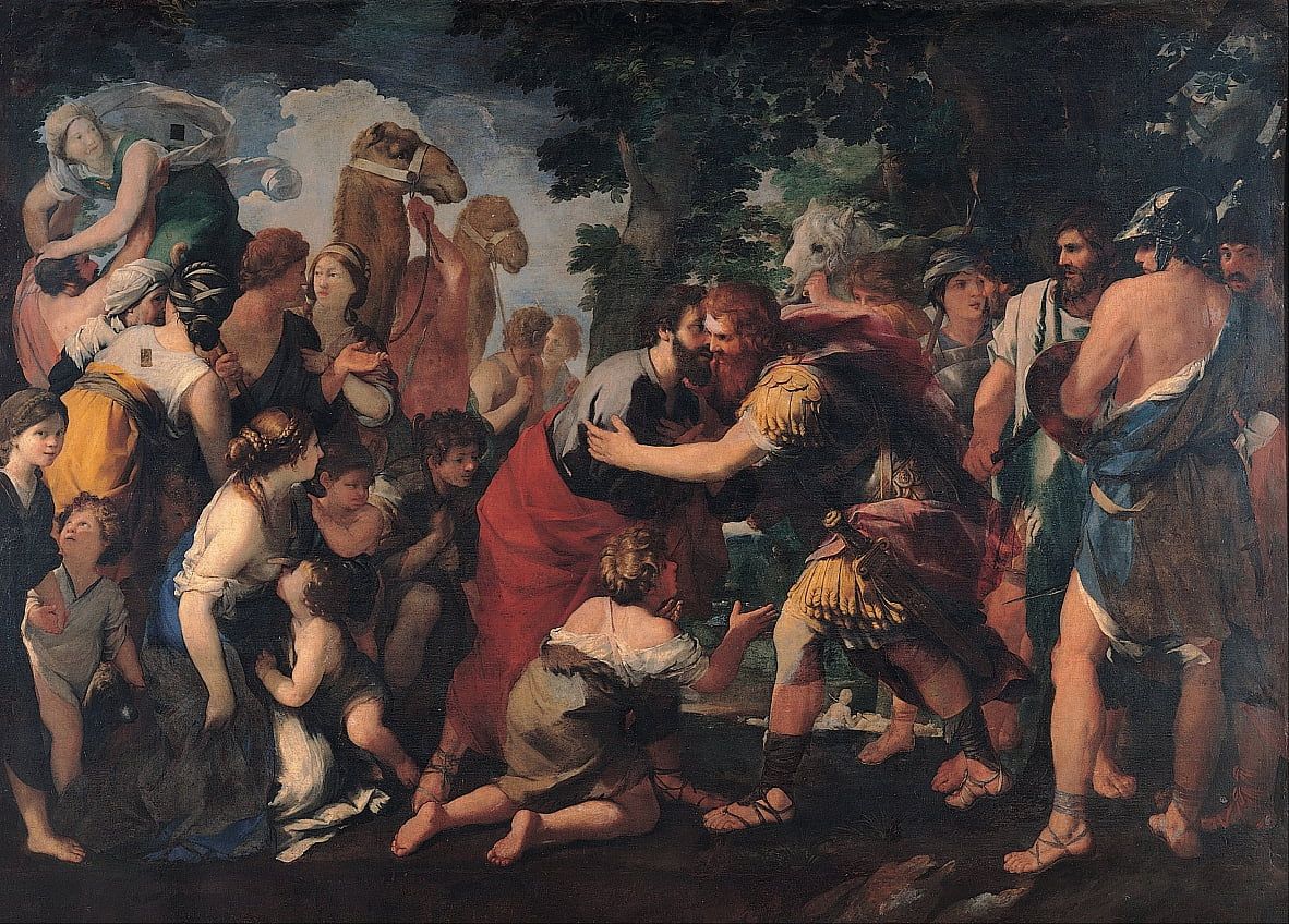 Meeting between Esau and Jacob by Raffaellino Bottalla