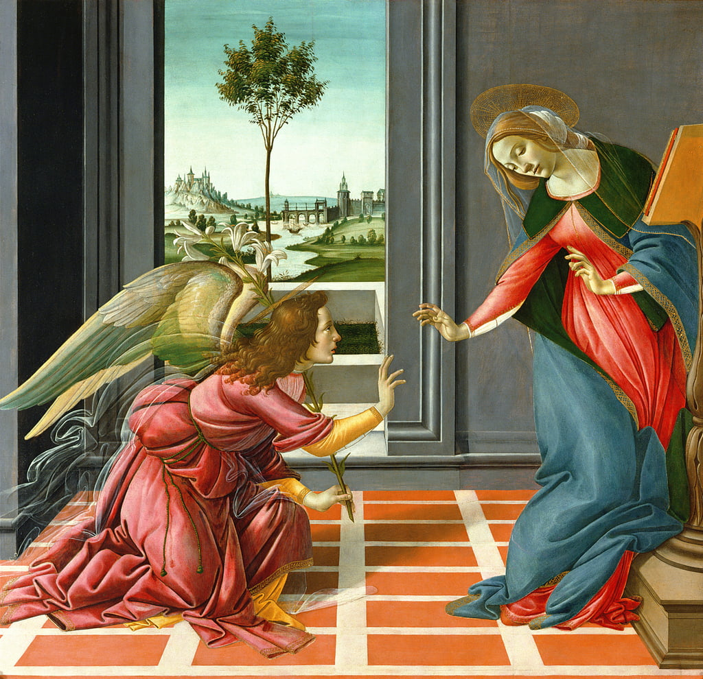 Annunciation (tempera on panel),1489 by Sandro Botticelli