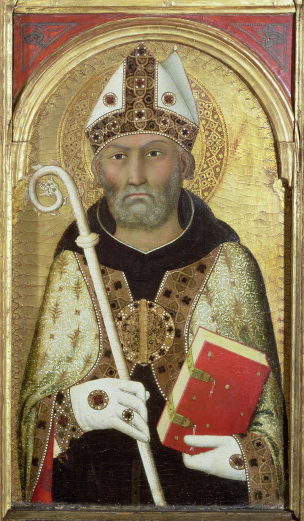 St. Augustine, c.1319 (tempera with gold on panel) (detail of 58835) by Simone Martini