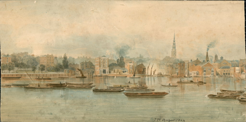 Panorama der Fluss Themse, Nordseite, in 13 Teilen von Thomas Mann ...