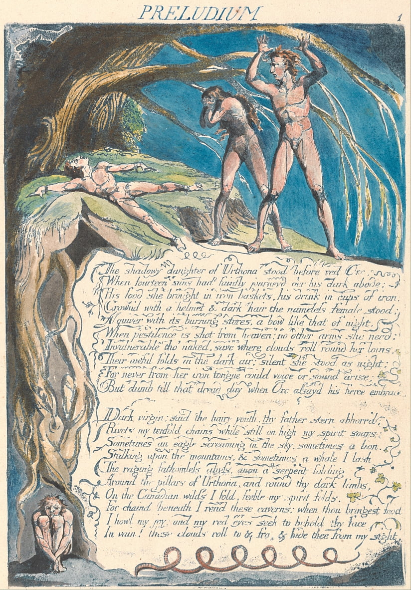 Amerika. Eine Prophezeiung, Tafel 3, Preludium von William Blake