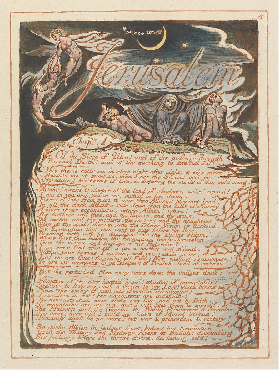 Jerusalem, Tafel 4, Jerusalem, Kap. 1 .... von William Blake