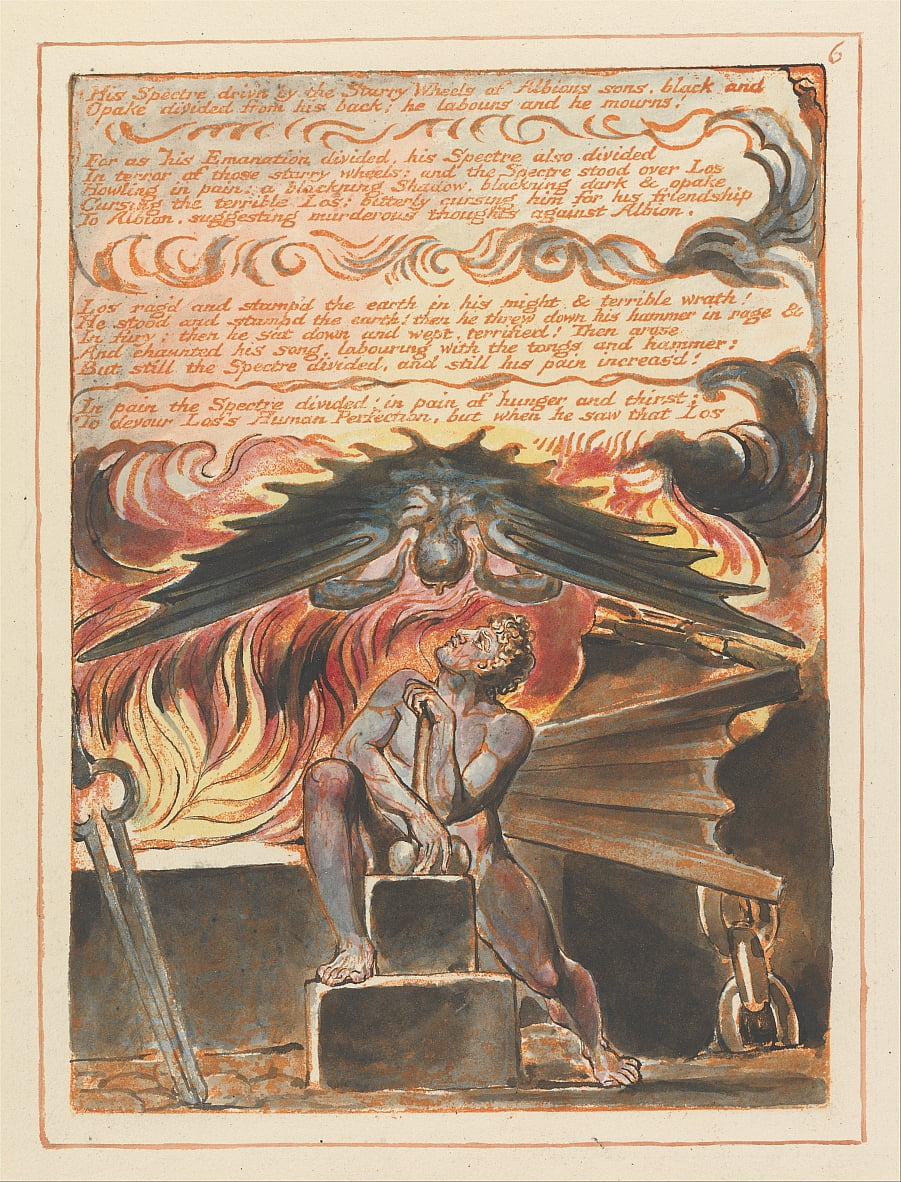 Jerusalem, Tafel 6, Sein Gespenst drivn .... von William Blake