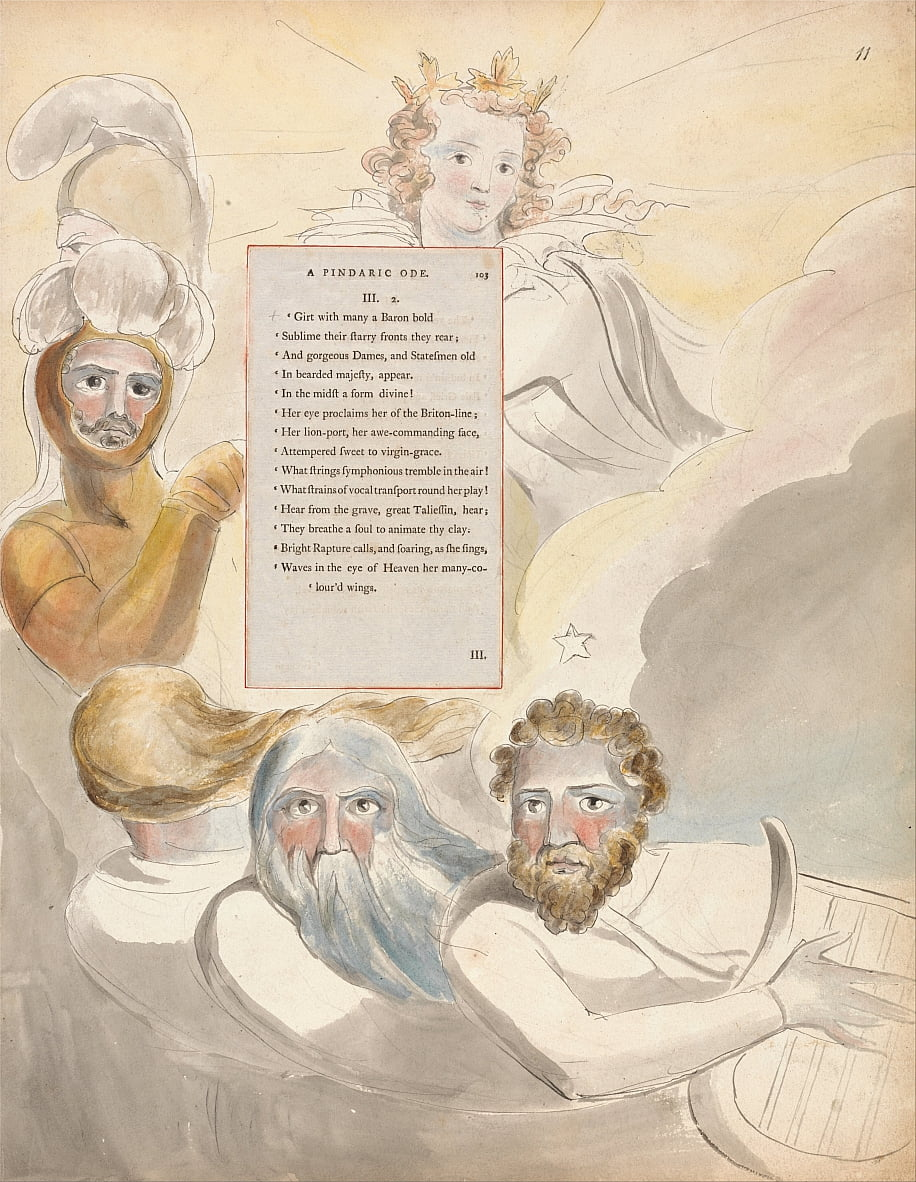 Die Gedichte von Thomas Gray, Design 63, The Bard. von William Blake
