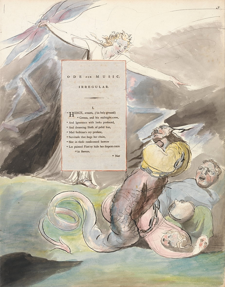 The Poems of Thomas Gray, Design 95, Ode for Music. by William Blake