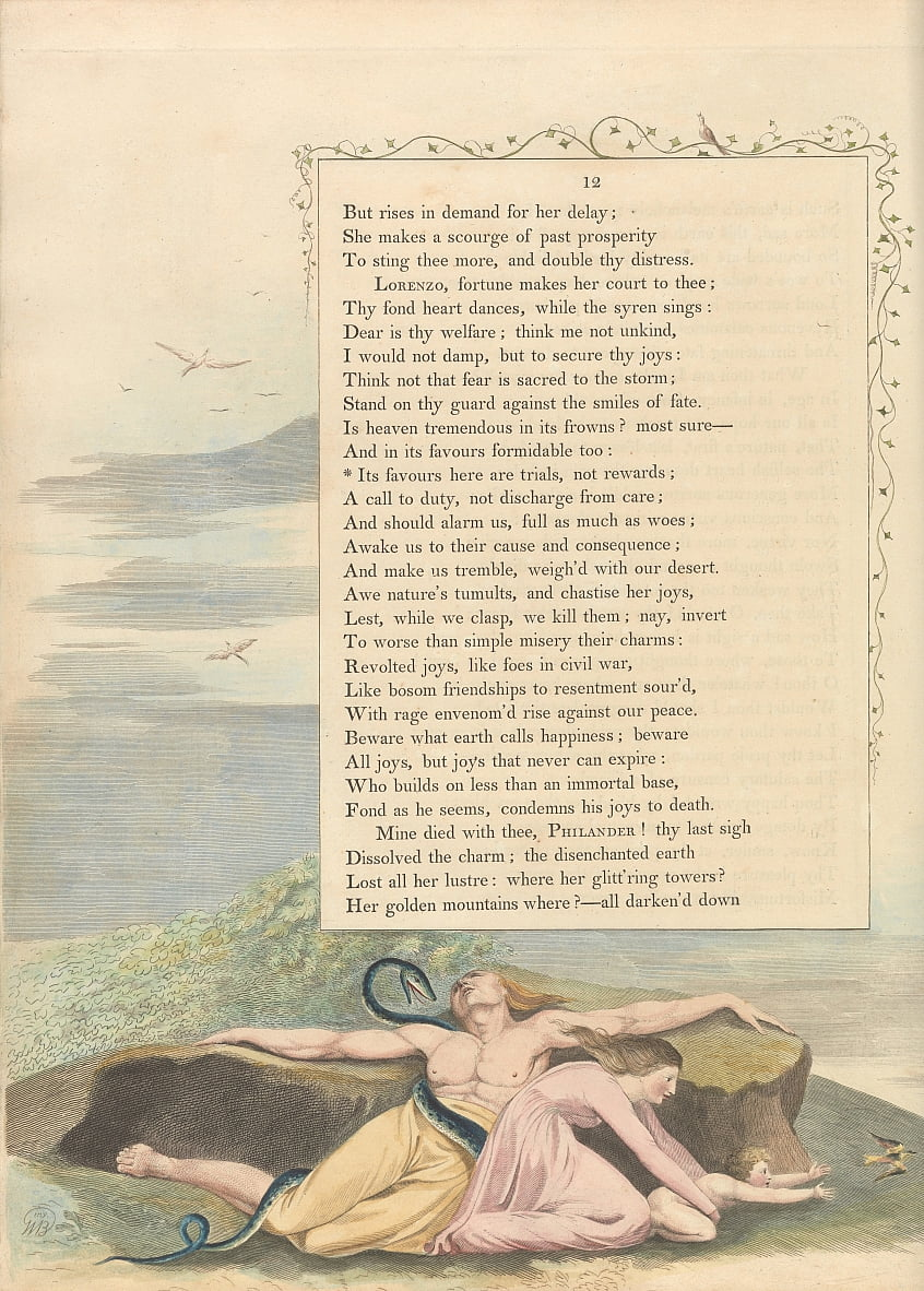 Youngs Night Thoughts, Page 12, Its favours here are trials, not rewards by William Blake