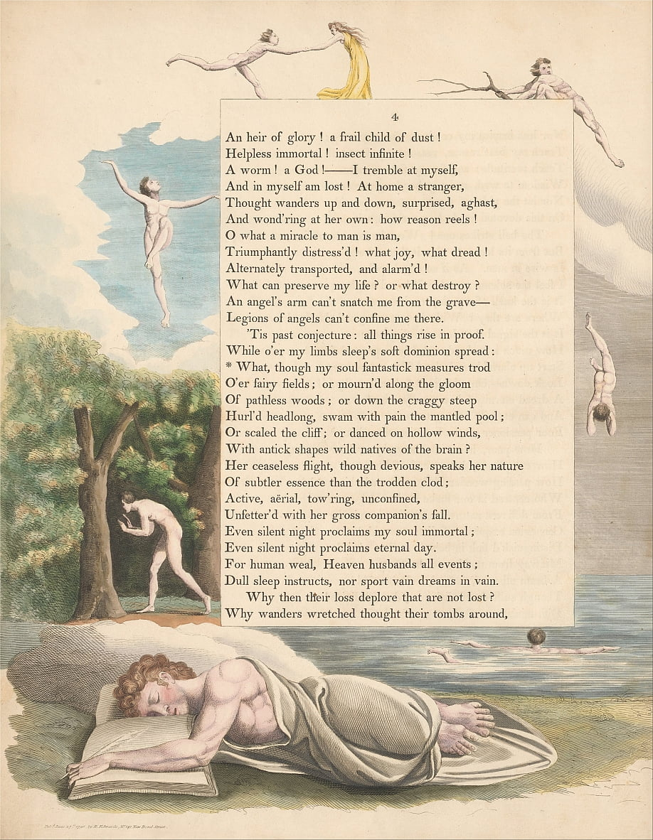 Youngs Night Thoughts, Seite 4, was, obwohl meine Seele Fantastick Maeth Trod von William Blake