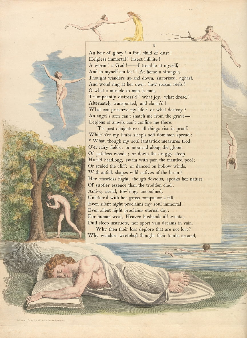Youngs Night Thoughts, Page 4, What, though my soul fantastick measures trod by William Blake
