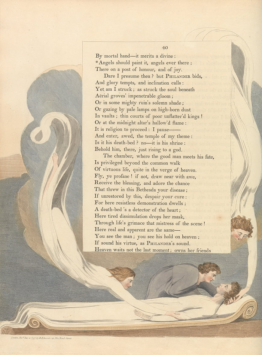 Youngs Night Thoughts, Seite 40, Engel sollten es malen, Engel jemals dort von William Blake