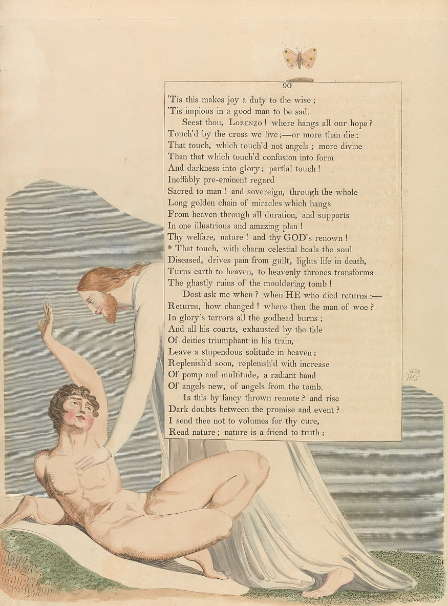 Youngs Night Thoughts, Page 90, That touch, with charm celestial heals the soul by William Blake