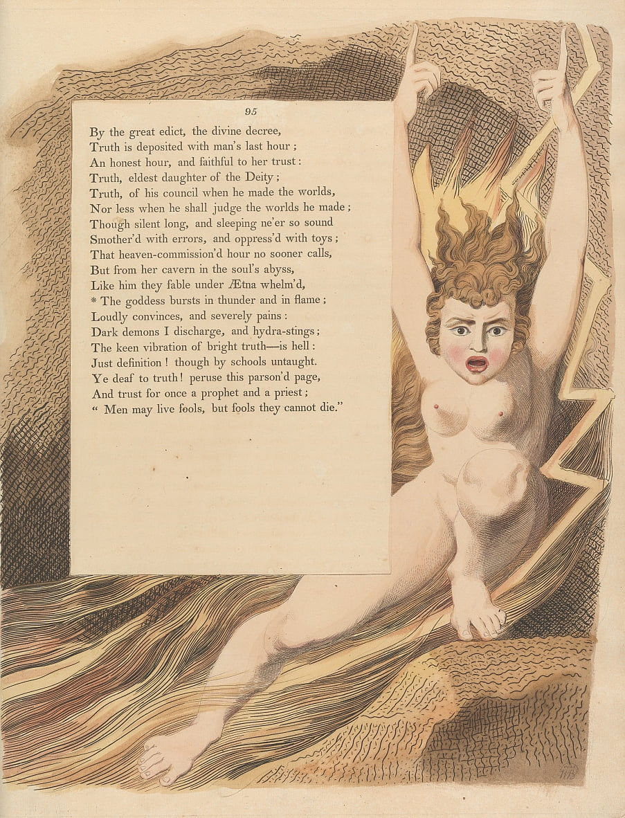 Youngs Night Thoughts, Page 95, The goddess bursts in thunder and in flame by William Blake