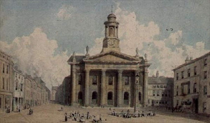 Sessions House and Market, Lancaster  by William Westall