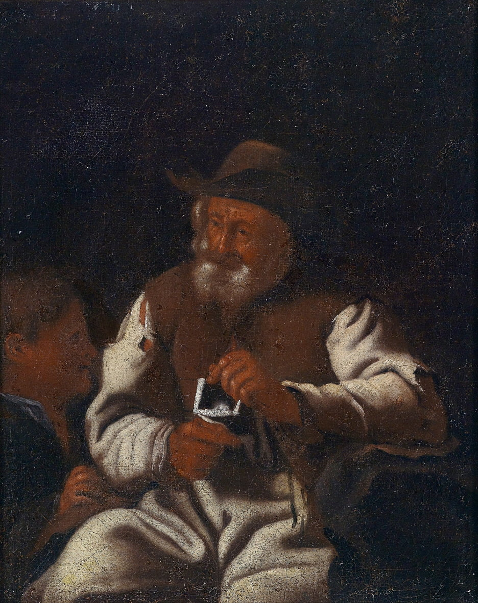 Ein strickender alter Mann von Workshop of Michiel Sweerts
